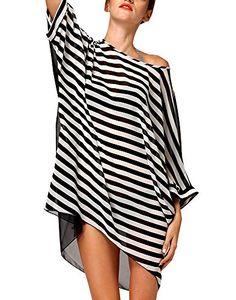 Cfanny Women's Cover-Up Stripes Pompom Trim Chiffon Beachwear $13.99