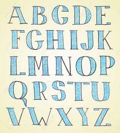 Doodle Hand Drawn Sketch Alphabet Royalty Free Cliparts, Vectors ...