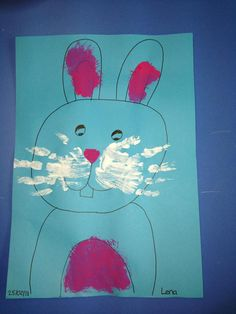 Bunny Moustache made with Handprints