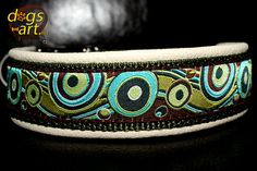 dogs-art BUBBLES Easy Release Alu Buckle Leather Collar - creme/sage/bubbles brown on Etsy, $36.00