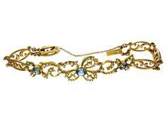 Beautiful!  Aquamarine & Natural Pearl 15ct Bracelet EDWARDIAN (1901-1914)