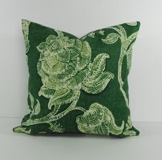 Tommy Bahama Designer Print Pillow Cover, Decorative Throw Pillow Cushion, Leilani, Green, Emerald Green, 18 x 18, 16 x 16