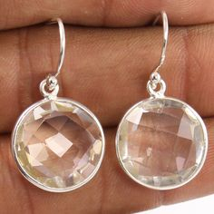 Wholesale Suppliers 925 Sterling Silver Earrings Natural CRYSTAL QUARTZ Gemstone #Unbranded #DropDangle