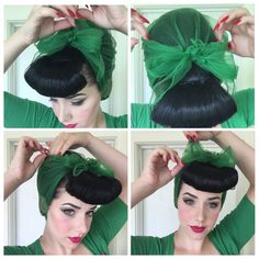 One of the first vintage hairstyles I taught myself was the beehive & hair scarf look! It's a great style for when you hair needs a wash, you don't want to spend too much time on it or you've got a bright coloured scarf to match your outfit! Vintage Updo, Retro Updo, Vintage Pins, Vintage Hairstyles Tutorial, 1940s Hairstyles, Square Face Hairstyles, Scarf Hairstyles, Turbans, Headscarves