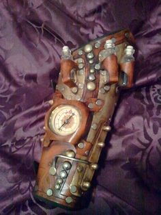 Navigator Steampunk Bracer Deluxe  Featuring a compass and glass vials by SkinzNhydez, $235.00