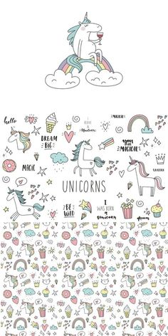 Unicorn doodle illustration clipart, quotes, cute cards, and graphic elements i Doodle Drawings, Doodle Art, Easy Drawings, Unicorn Illustration, Graphic Illustration, Doodle Illustrations, Bujo Doodles, Unicorn Drawing, Hand Drawn Lettering