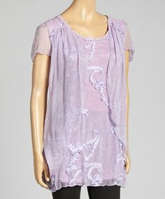 Another great find on #zulily! Lavender Ruffle Silk-Blend Tunic by Pretty Angel #zulilyfinds