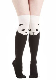Ex-Panda-ble Enjoyment Socks. Your affinity for fun details is apparent whenever you accessorize with these not-so-ordinary knee-high socks! Black Knee High Socks, Thigh High Socks, Black Socks, Thigh Highs, High Boots, Cute Socks, My Socks, Corsets, Panda Socks