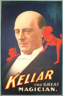 Ever since this Harry Kellar image from 1894, magic posters and images of whispering imps have gone hand in hand.
