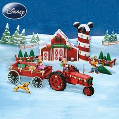 Disney Mickey Mouse Christmas Sculpture Set: Bringing Home The Tree With Mickey Mouse by Hawthorne Village Disney Christmas Village, Christmas Tree Lots, Tabletop Christmas Tree, Mickey Mouse Christmas, Christmas Villages, Babies First Christmas, Cozy Christmas, Disney Mickey Mouse, Christmas Holidays