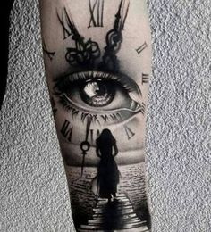 Our Website is the greatest collection of tattoos designs and artists. Find Inspirations for your next Clock Tattoo. Search for more Tattoos. Half Sleeve Tattoos For Guys, Best Sleeve Tattoos, Leg Tattoos, Body Art Tattoos, Girl Tattoos, Skull Sleeve Tattoos, Tatoos, Tattoo Forearm, Tattoo Girls