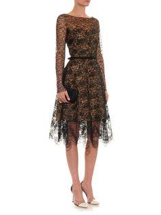 Long-sleeved floral-lace dress | Oscar De La Renta | MATCHESFA...