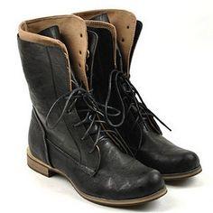 Black Lace up Mid Calf Rock Boots Speed lace. Okay Full lace. Okay Back zip. Okay Zipper on the inseam. No thx
