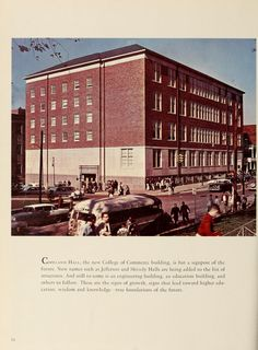 """Athena Yearbook, 1957. """"Copeland Hall, the new College of Commerce building, is but a signpost of the future. New names such as Jefferson and Shively Halls are being added to the list of structures. And still to come is an engineering building, an education building, and others to follow. These are the signs of growth, signs that lead toward higher education, wisdom and knowledge true foundations of the future."""" :: Ohio University Archives"""