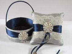Wedding Ring Bearer Pillow Ring Pillow and Flower Girl Basket - custom made. $94.00, via Etsy.