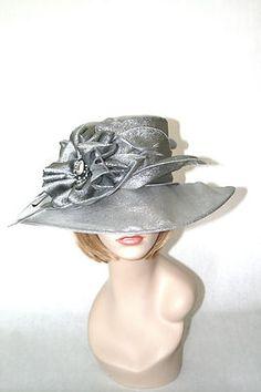 NEW Church Kentucky Derby Hat Metallic Shimmery Silver Organza Dress Ascot Wedding Hats, Wedding Fascinators, Race Day Fashion, Silver Hats, Derby Outfits, Types Of Hats, Floppy Hats, Kentucky Derby Hats, Church Hats