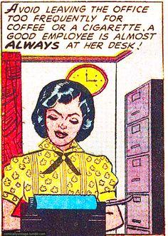 almost always at her desk Old Comics, Comics Girls, Vintage Comics, Funny Comics, Comic Books Art, Comic Art, The Cardigans, Romance Comics, Comic Book Panels