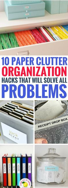 These paper clutter organization ideas are GENIUS! Such simple solutions that help to declutter and get your home in order. Definitely worth trying these paper clutter storage ideas! #organization