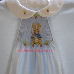 "Peter Cottontail..designs. ""Love the way the outside pleats create a neat border for the smocking."""