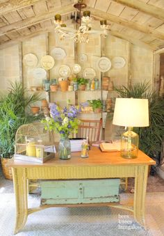Chandelier with led candles is perfect for outside in the potting shed {Bees Knees Bungalow}: Bachman's 2011 Summer Ideas House: Pt I Outdoor Rooms, Outdoor Living, Outdoor Office, Outdoor Fun, Outdoor Ideas, Garden Shed Interiors, Garden Sheds, Backyard Sheds, Shed Decor