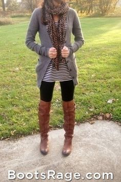 Mixing patterns. Cheetah + stripes. Fall fashion! - Women Boots And Booties