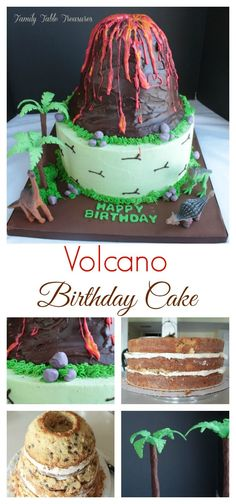 layered 12 inch base as well as two more double layered tiers to create the Volcano topper. The Volcano Cake topper Dinosaur Birthday Cakes, 3rd Birthday Cakes, Dinosaur Party, Birthday Ideas, Bithday Cake, Birthday Fun, Volcano Cake, Diy Cake, Cakes For Boys