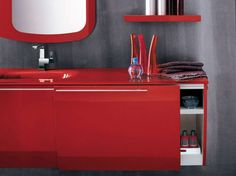 Trendy and Attractive Modern Red Bathroom Furniture by Artesi