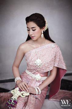 Mint Chalida, WE magazine. Traditional wedding dress Laos Wedding, Khmer Wedding, Thailand Wedding, Cambodian Wedding Dress, Thai Wedding Dress, Thai Traditional Dress, Traditional Wedding Dresses, Traditional Outfits, Evening Dresses For Weddings