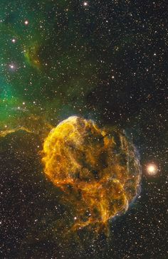 The Jellyfish Nebula (IC 443). IC 443, the Jellyfish Nebula, is a Galactic supernova remnant, in the constellation Gemini, that occurred 8,000 years ago. It is one of the best studied cases of supernova remnants, interacting with surrounding molecular clouds. IC 443 spans about 65 light-years at an estimated distance of 5,000 light-years. Credit: Bob Franke