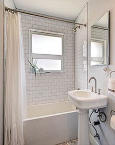 Subway Tile And Classic White Windows Is Always A Clean Modern Bathroom  Idea For The Home