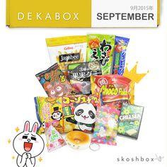 September Dekabox included Kompeito, Chelsea Yogurt-Scotch, Panda Corn Puffs, Line Character Candy, and a Squishy Cat Donut!