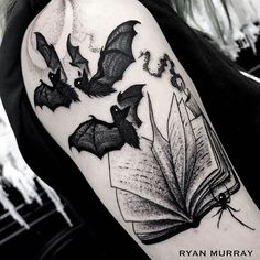 What does bat tattoo mean? We have bat tattoo ideas, designs, symbolism and we explain the meaning behind the tattoo. Body Art Tattoos, Bat Tattoo, Spooky Tattoos, Tattoos, Gothic Tattoo, Halloween Tattoos, Cute Tattoos, Dark Tattoo, Beautiful Tattoos