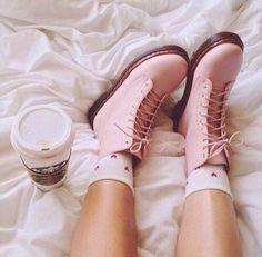 Pastel pink combat boots
