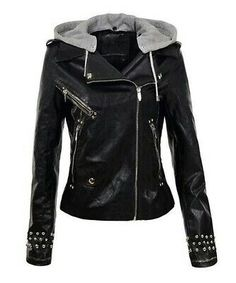 Black Biker Slim Fit Silver Small Studded Handmade Hooded Genuine Leather Jacket 100 % Genuine Cowhide Leather Fine premium stitching Inner Lining inside Pocket High Quality Studs are Used Classic Fashionable Studded Work Custom Color Cha. Spiked Leather Jacket, Leather Hoodie, Leather Jacket With Hood, Studded Jacket, Faux Leather Jackets, Biker Leather, Black Leather, Leather Skin, Hoodie Jacket