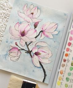 Magnolia, watercolor