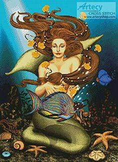 The Mermaid cross stitch pattern.