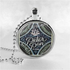 Peter Pan Book Necklace, Art Pendant Jewelry, Art Pendant Charm, Vintage Peter Pan Book, Fairy Tale Jewelry on Etsy, $8.95