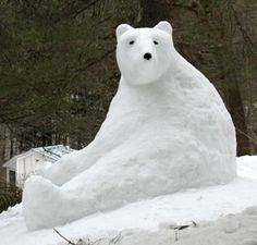 snow sculpture polar bear