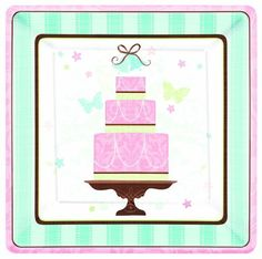 Blushing Bride Square Paper Dinner Plate 18ct