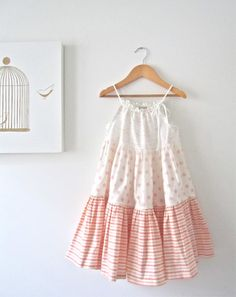 Toddler Girls Summer Twirl Dress-Peachy Pink-Ruffled Patchwork Tunic-Shabby Chic-Sundress--Children Clothing by Chasing Mini-Ready to Ship