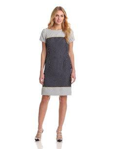 Jones New York Women's Twin Print Dot Dress #workdresses