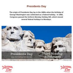 Presidents Day is a US federal holiday during the birth month of the country's two most prominent presidents, George Washington & Abraham Lincoln. National Day Calendar, Federal Holiday, Bay And Bay, Holiday Day, National Holidays, Presidents Day, Top News, Celebrities, Celebs