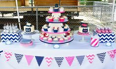 Pink and Navy Dessert Table by Half Baked Co. #pink #navy #twin #train #cake