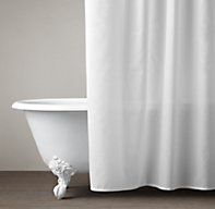Hotel Shower Curtain THIS IS A VINYL OXFORD.... ALL WHITE AND DOUBLE AS A CURTAIN AND A LINER