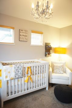 Love the burst of yellow with gray and white. Want this (plus that light fixture) in my future nursery.