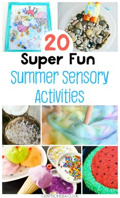 The most fun summer sensory play ideas and activities! Be a fun mum this summer with these cool activities including ice play, rice and sensory bins.