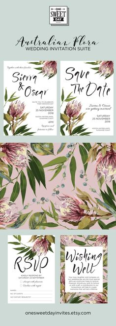 """The """"Australian Flora"""" Suite, from """"One Sweet Day Invites"""" Collection - perfect for the nature inspired wedding.  Wedding Invitation Printable, Australian, Protea, Eucalyptus Leaves, Gum Leaves, Native Flowers, Rustic, Nature, Blush, Spring, Floral"""