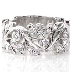 Leaf and vine antique inspired ring with milgrain detail and loads of sparkling diamonds. #knoxjewelers