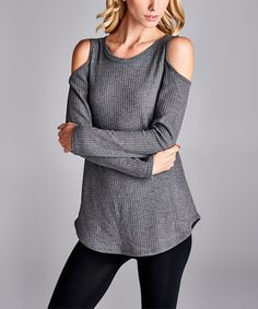 Loving this Charcoal Thermal Cutout Tunic on #zulily! #zulilyfinds