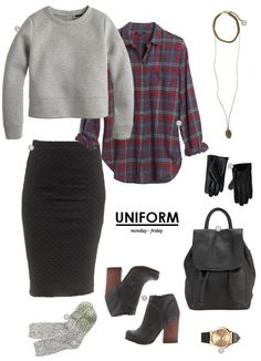 Grey sweater and socks, plaid button-up shirt, black pencil skirt and ankle boots